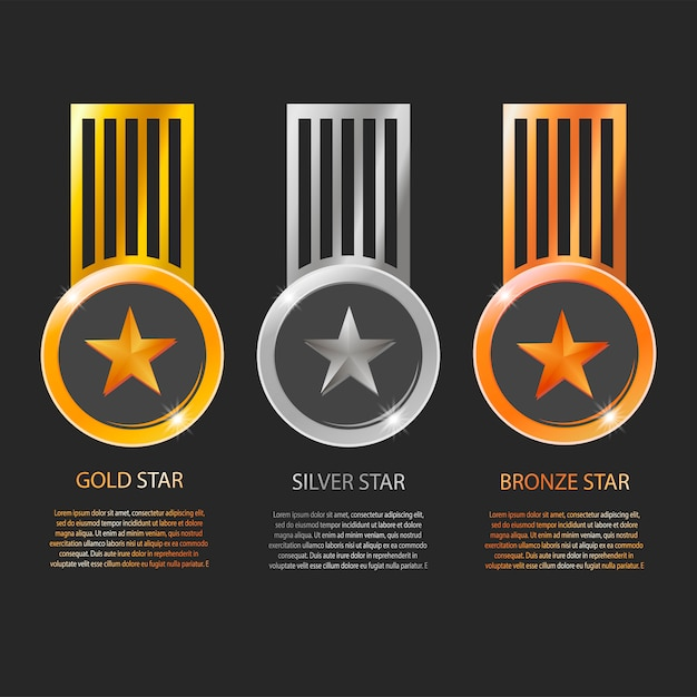 Star medals and ribbons with text space isolated on black background Premium Vector