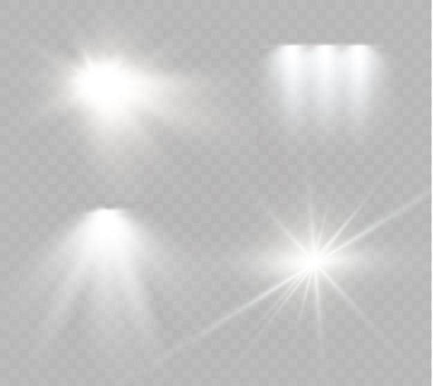 Звезда на прозрачной предпосылке, световой эффект, иллюстрация. взрыв с блестками Premium векторы