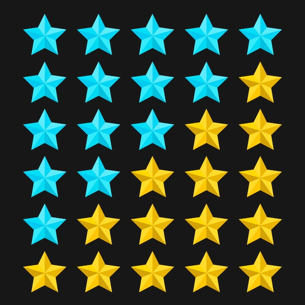 Star rating template with colored stars. concepts of quality product or service. stars rating  on black background.  illustration. Premium Vector
