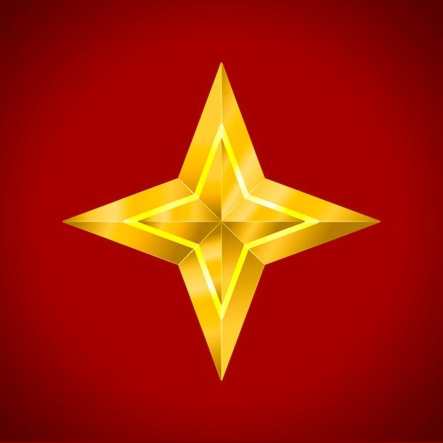 Star realistic metallic golden isolated Premium Vector