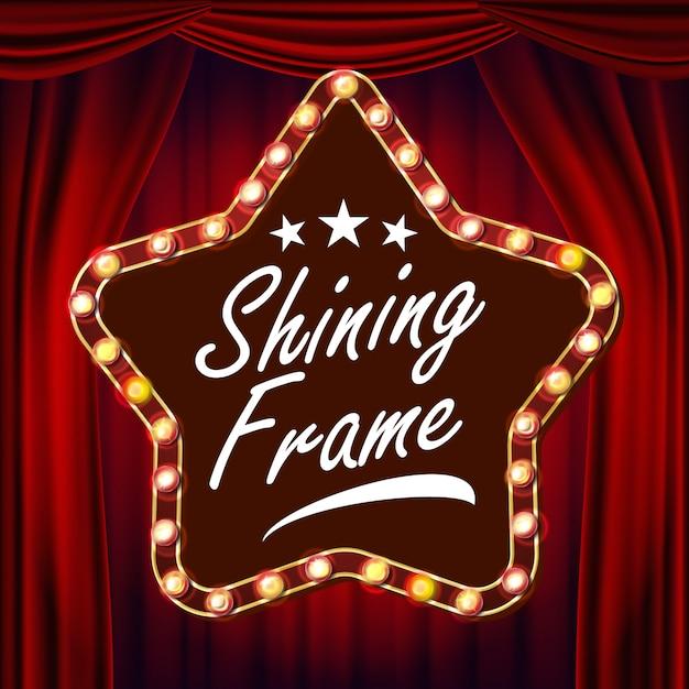 Star retro billboard vector  red theater curtain  shining light sign