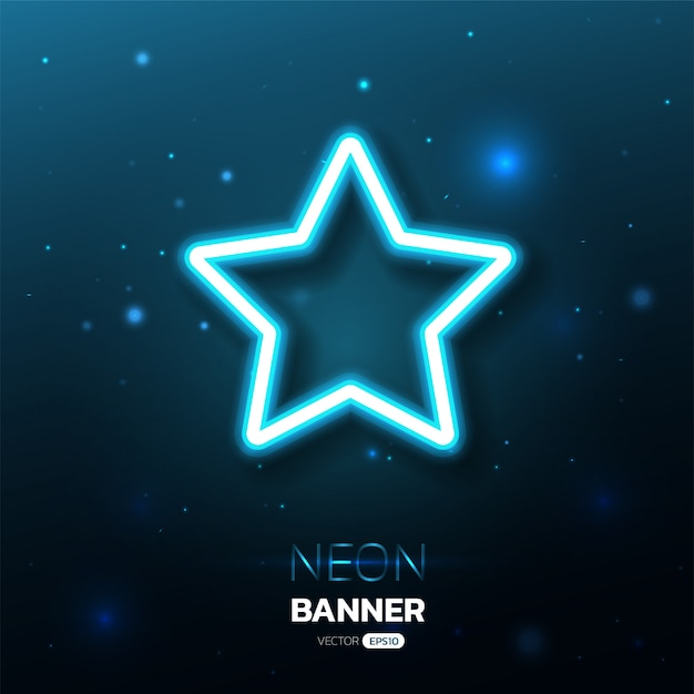 Star shape neon banner with lights effects. Premium Vector