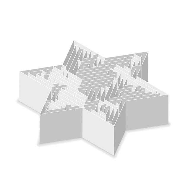 Звездообразный сложный серый лабиринт в изометрической проекции, изолированный на белом Premium векторы