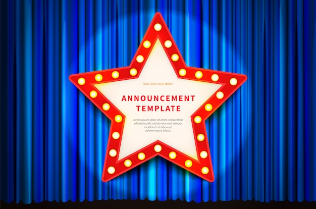 별 모양의 조명 전구, 블루 커튼에 빈티지 스타일 템플릿 빨간 프레임 프리미엄 벡터