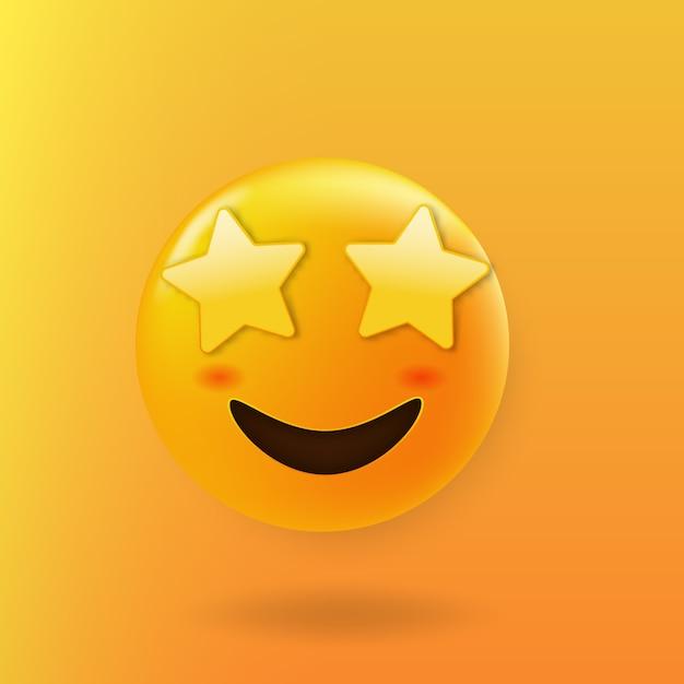별 눈을 가진 별이 이모티콘 귀여운 얼굴을 강타 프리미엄 벡터