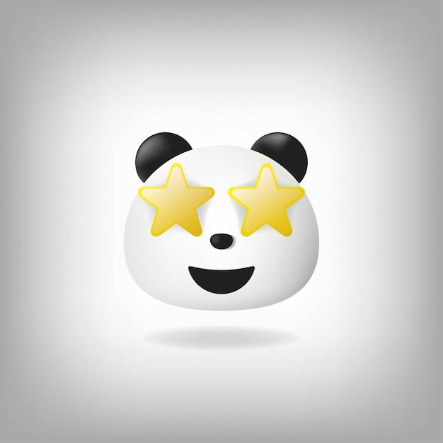 スターの目でパンダの絵文字顔を打ったスター Premiumベクター