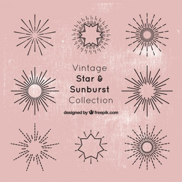 Star and sunburst collection Free Vector