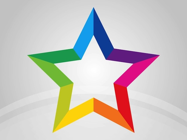 Star with rainbow outline Free Vector