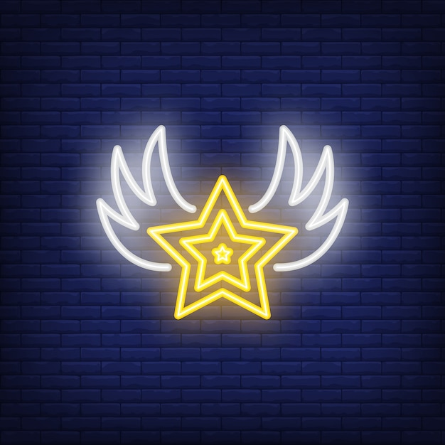 Star with wings neon sign Free Vector