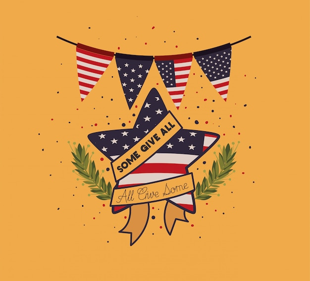 Star with wreath and usa flag of memorial day emblem Premium Vector