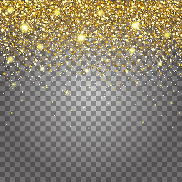 Эффект летающих частей золотой блеск роскошный богатый дизайн фона. светло-серый фон для эффекта. stardust зажжет взрыв на прозрачном фоне Premium векторы