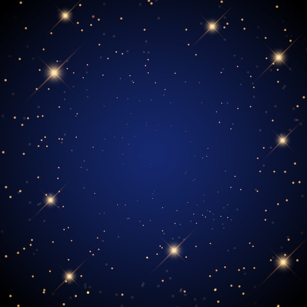 Starry background with glowing stars Free Vector