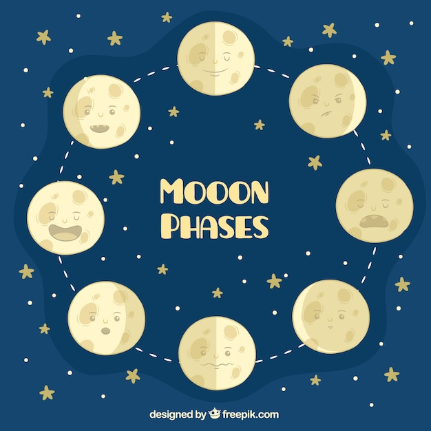 Starry background with great moon phases Free Vector