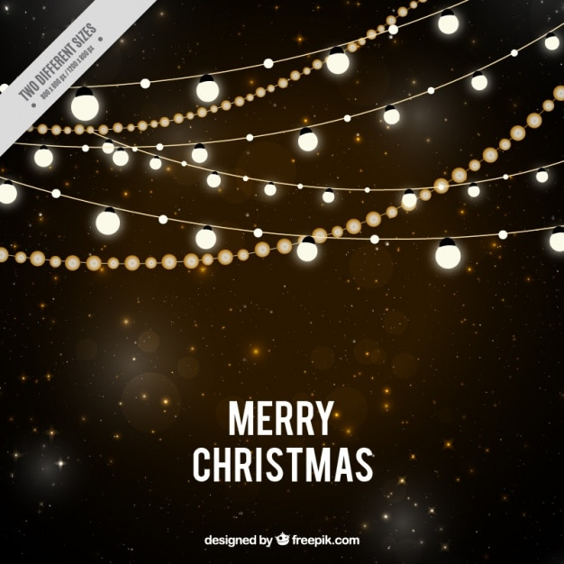 Starry night background with christmas lights Free Vector