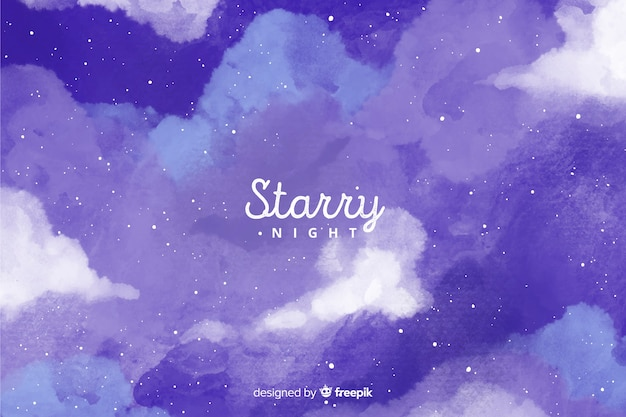 Starry night background Free Vector