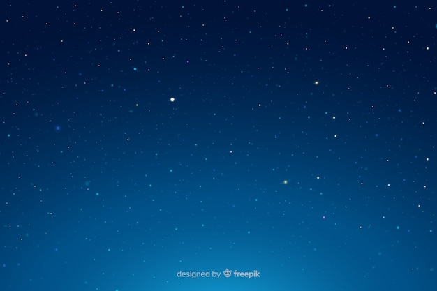 Starry night gradient blue sky Free Vector
