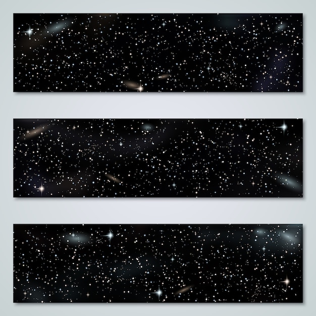 Starry night horizontal panoramic banners collection Premium Vector