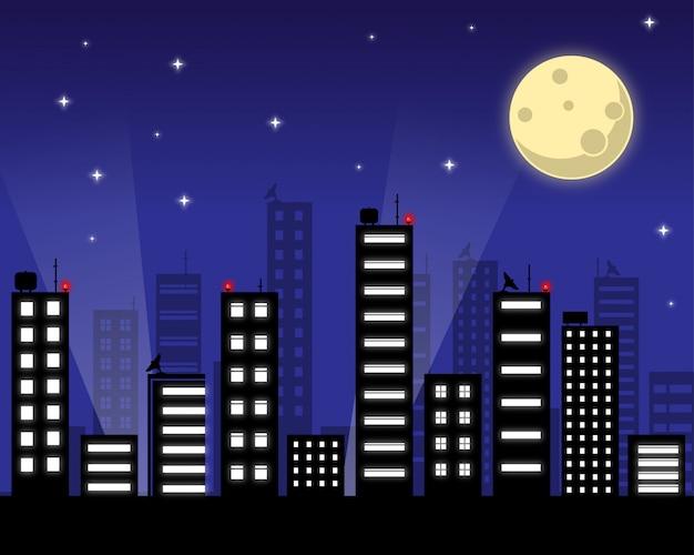 Звездное ночное небо с луной Premium векторы