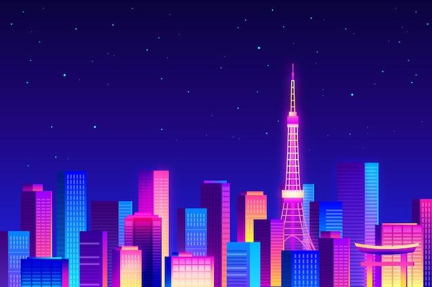 Orizzonte di tokyo di notte stellata nella luce al neon Vettore gratuito