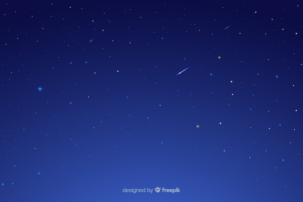 Starry night with falling stars Free Vector