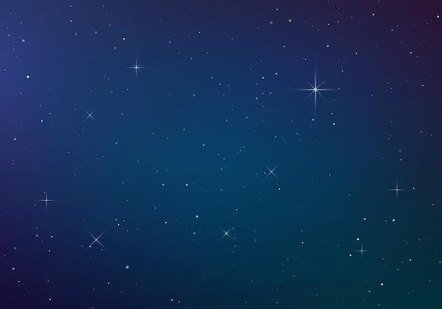 별이 빛나는 하늘 색 배경. 어두운 밤하늘. 빛나는 별이있는 무한 공간. 프리미엄 벡터
