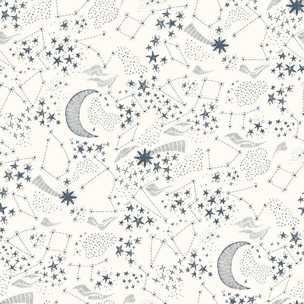 Starry sky seamless pattern Premium Vector