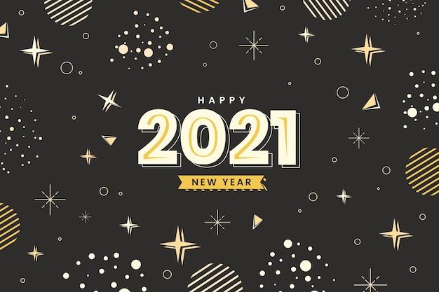 별과 점 평면 디자인 새해 복 많이 받으세요 2021 프리미엄 벡터