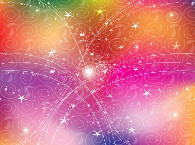 Stars And Lines On Swirls Patterns Vector