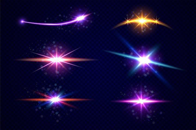 Набор звезд и планет, изолированные на прозрачном фоне Premium векторы