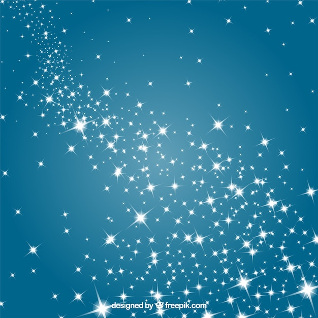Stars in a blue sky Free Vector