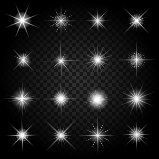 반짝임과 빛나는 조명 효과로 별이 폭발합니다. 밝은 세트, 터지는 폭죽 반짝임, 무료 벡터