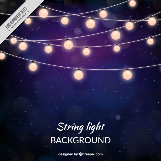 String Of Lights Background : Stars dark background of string lights Vector Free Download