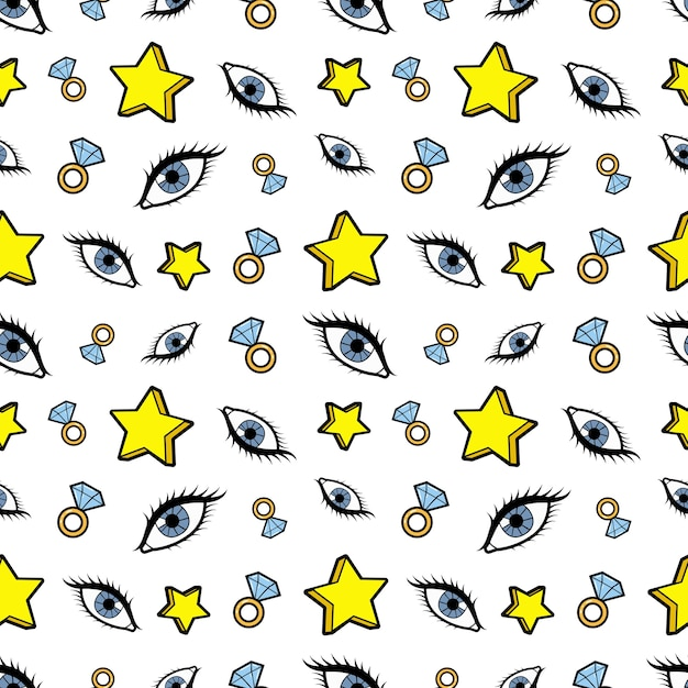 星のダイヤモンドと目のシームレスなパターン。レトロなコミックスタイルのファッションの背景。図 Premiumベクター