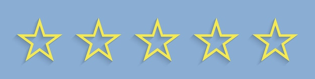 별. 5 개의 별 등급보기 생생한 노란색. 프리미엄 벡터