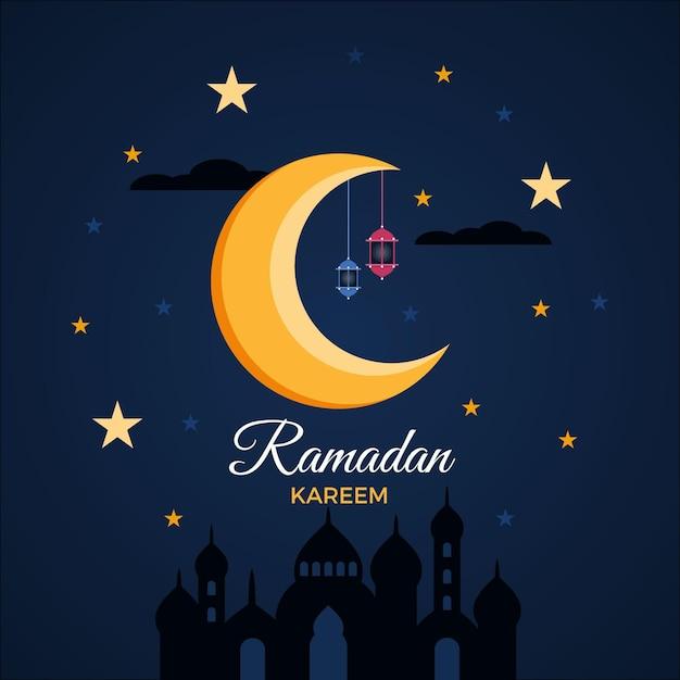 Stars and moon flat design eid mubarak Free Vector