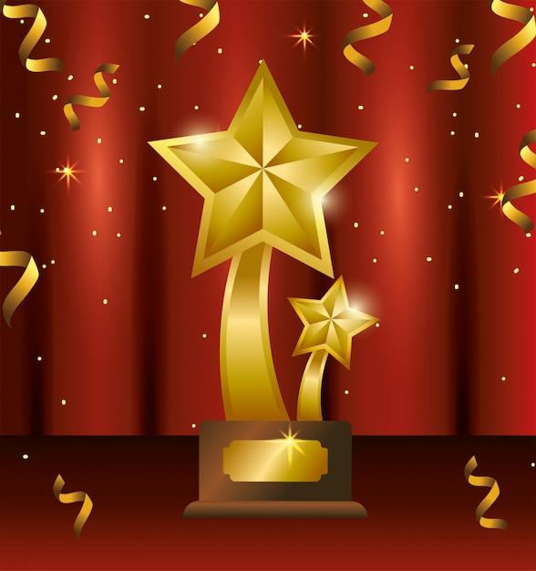Stars prize with confetti to winner celebration Premium Vector