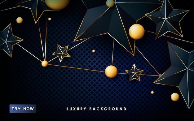 Stars shape with golden list background. Premium Vector