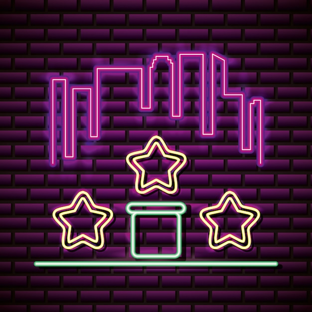Stars and skyline in neon style, video games related Free Vector