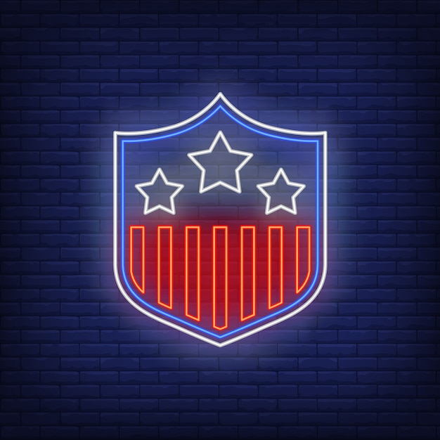 Stars and stripes on shield neon sign Free Vector