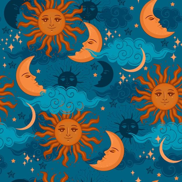 Звезды солнце и луна бесшовные модели. графика. Premium векторы
