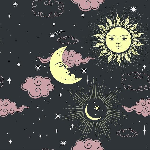 星の太陽と月のシームレスなパターン Premiumベクター
