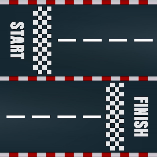 Start finish racing track   marking Premium Vector