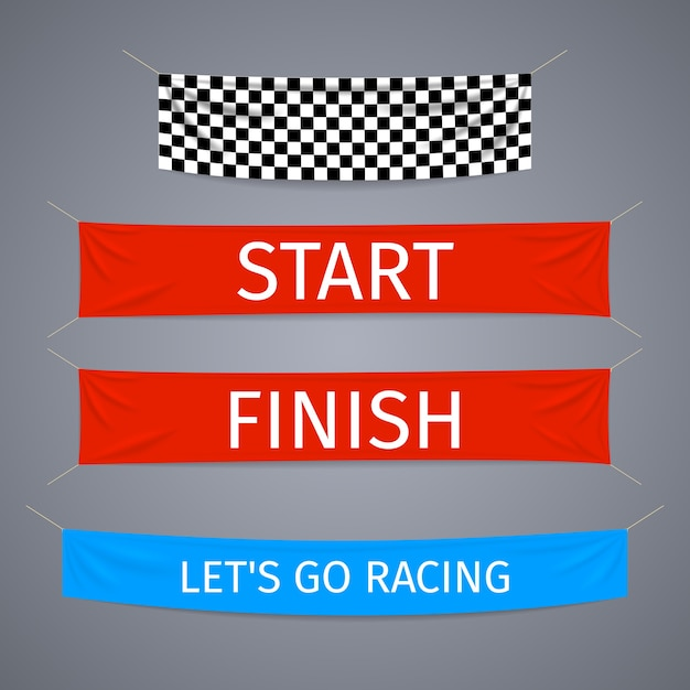 Start and finish textile banners vector set. flag sport race, competition finishing, winner success Free Vector