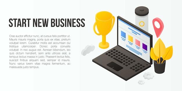 Start new business concept banner, isometric style Premium Vector