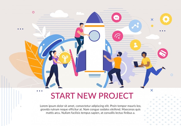 Start new project motivation poster in flat Premium Vector