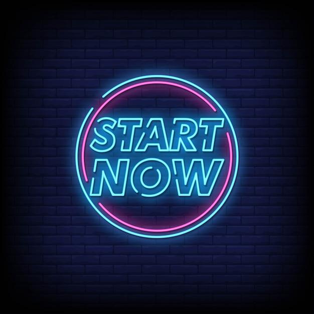 Start now neon sign style text vector Premium Vector