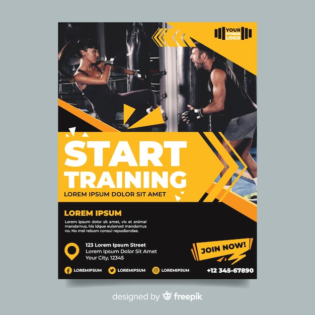 Start training sport flyer with image Free Vector