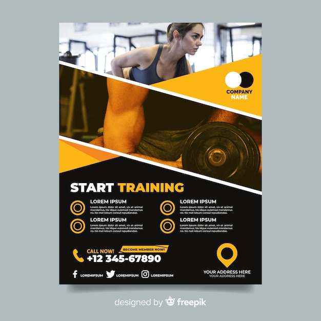 Start training sport flyer with photo Free Vector