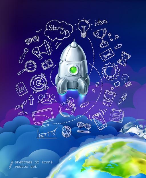 Start up, business infographics, vector set Premium Vector