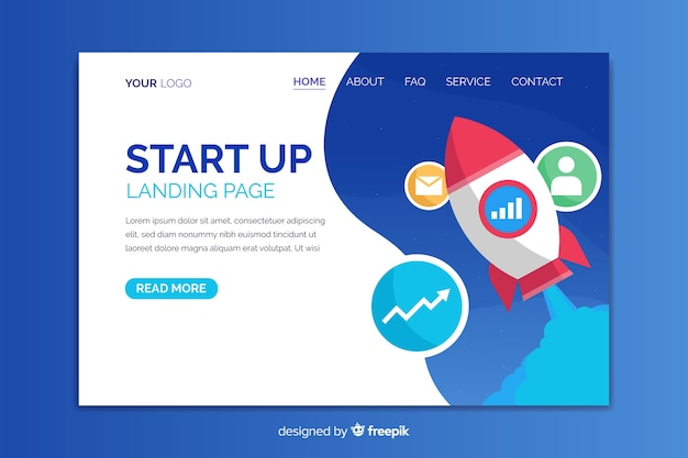 Start up business landing page template Free Vector